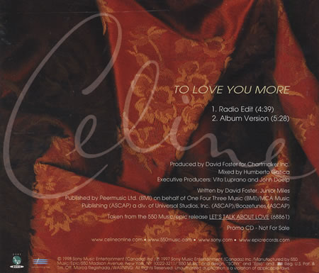 Celine Dion - To Love You More piano sheet music